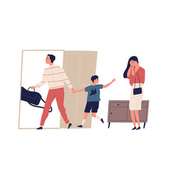 scene family divorce and child custody dispute vector image
