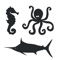 Sea horse Octopus and big fish set vector