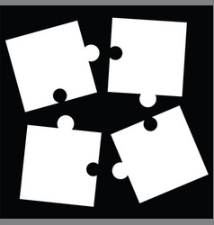 Separate white puzzle pieces - black background vector