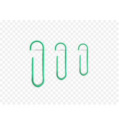 set green clips clamping paper edge vector image