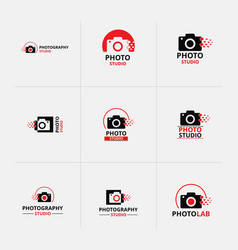set of 9 black and red icon for photographer vector image