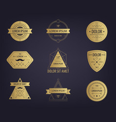 set of abstract hipster golden labels vector image