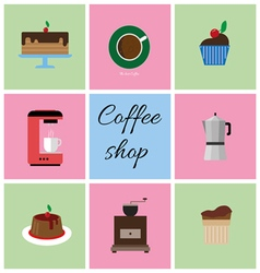 Set of colored coffee items vector image