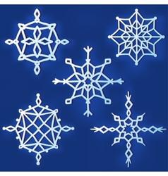 set simple snowflakes vector image