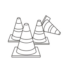 Silhouette striped traffic cone set icon flat vector