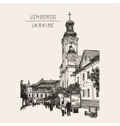 sketch of Uzhgorod cityscape Ukraine town vector image