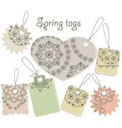 Spring tags with floral patterns vector