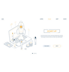 startup - isometric line design style web banner vector image