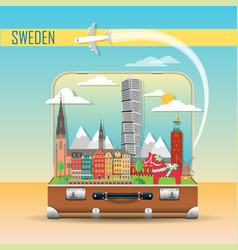 suitcase with landmarks sweden vector image
