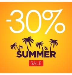 Summer Sale orange banner Palm silhouette and vector image