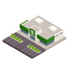 Supermarket with parking and shopping carts vector