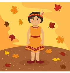 Thanksgiving Native Indian Short Hair Girl vector