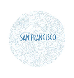 The circle with san francisco symbols vector