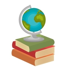 three books globe isolated graphic vector image
