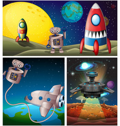 Three scenes with rocket in space vector