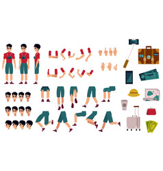 Tourist creation kit - various body parts face vector