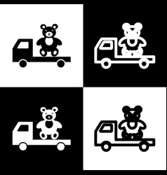 truck with bear black and white icons and vector image