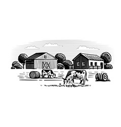two cows on background farm vector image