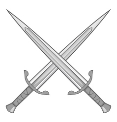 Two crossed swords icon gray monochrome vector image