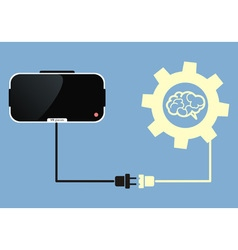 virtual reality glasses connect to brain vector image