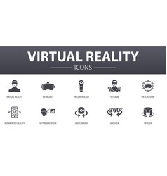 Virtual reality simple concept icons set contains vector