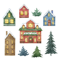 watercolor set with christmas houses and vector image