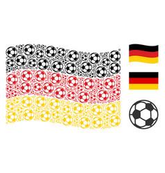 waving german flag pattern of football ball icons vector image