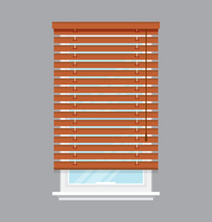 Window with brown roller blind isolated vector