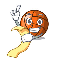 with menu volleyball mascot cartoon style vector image
