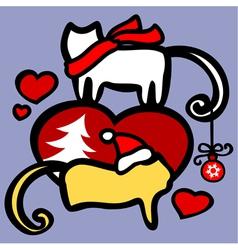 xmas cats in love vector image