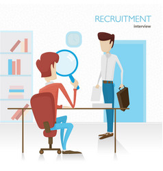 agent hr conducts the interview viewing summary vector image