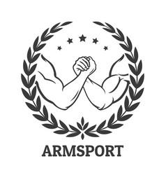 arm wrestling logo vector image vector image