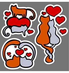 cats in love stickers vector image vector image