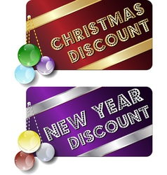 christmas new year discount cards vector image