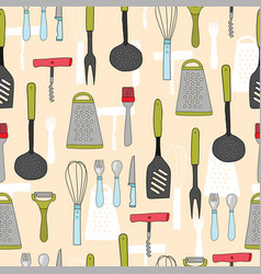 colorful seamless pattern of kitchenware cookware vector image