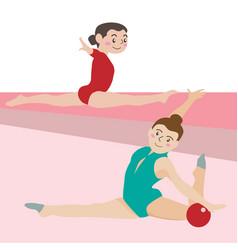 gymnastic athletic sport cartoon set vector image vector image
