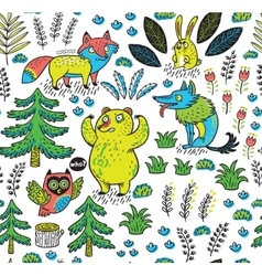 Hand drawn seamless pattern with funny colorful vector