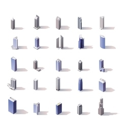 isometric skyscrapers set vector image