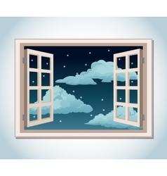 room window night sky stars clouds vector image