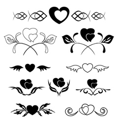 set of elements - heart and flora vector image