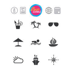 cruise trip ship and yacht icons travel signs vector image
