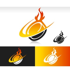 Fire Swoosh Hockey Puck Logo Icon vector image
