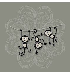 Funny monkeys for your design Symbol of 2016 year vector image