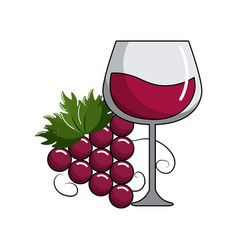 glass of wine and grape fruit tasty vector image