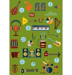 Musical flat instrument and device icons vector image vector image