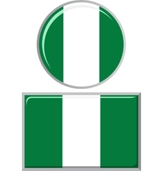 Nigerian round and square icon flag vector