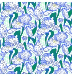 Vintage pattern with field of iris flowers vector image vector image