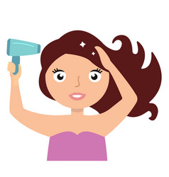 woman drying hair with blowdryer fresh and clean vector image