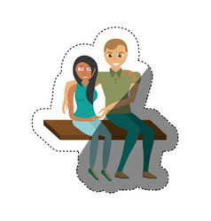 couple sitting happy lovely shadow vector image vector image