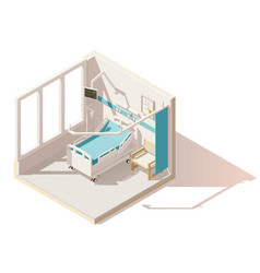 isometric low poly hospital ward vector image vector image